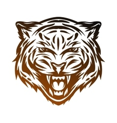 Aggressive tiger face Line art style vector image
