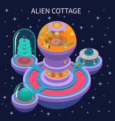 Alien cottage isometric composition vector