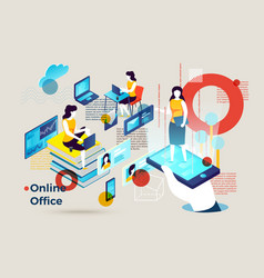 Alphabet letter o with online office vector