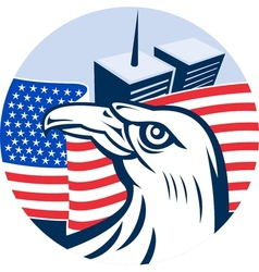 American eagle flag and twin tower building vector