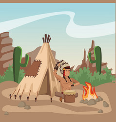 American indian playing drum vector