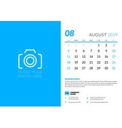 August 2019 desk calendar design template with vector