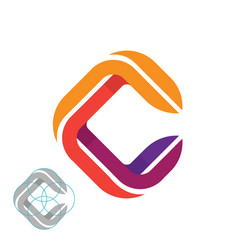 Awesome letter c with grid logo design vector