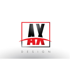 Ax a x logo letters with red and black colors and vector