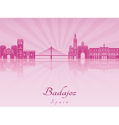 Badajoz skyline in purple radiant orchid vector image