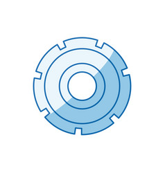 Blue color shading silhouette gear wheel icon vector