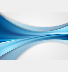 Blue smooth abstract wavy corporate background vector