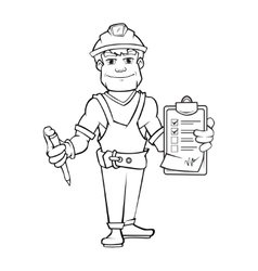 Builder in helmet standing and holding order paper vector