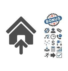Building Entrance Flat Icon With Bonus vector image vector image
