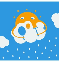 Cartoon about the sun and rain vector