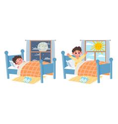 Cartoon kid boy sleep at night wake up at morning vector