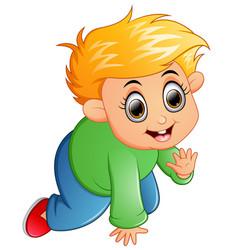 cartoon kid crawling isolated on white background vector image
