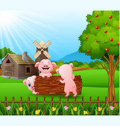 Cartoon three little pigs play in the log with far vector