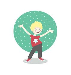 Cheerful little boy having fun vector