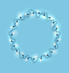christmas lights realistic garland on blue vector image