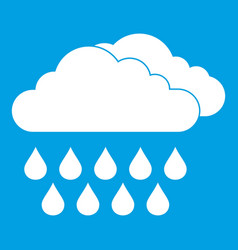Cloud and rain icon white vector