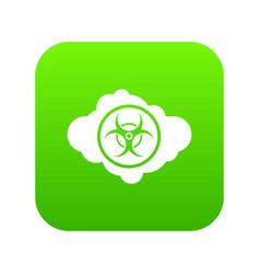 cloud with biohazard symbol icon digital green vector image