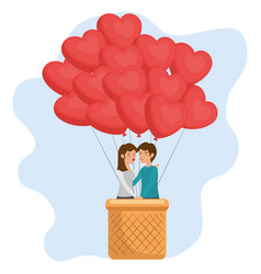 couple and balloons design vector image