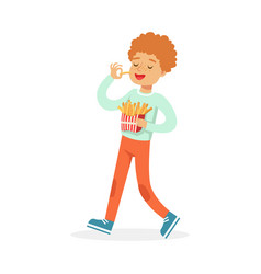 cute happy boy eating french fries colorful vector image