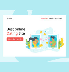 dating agency landing page template vector image