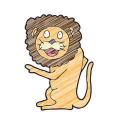 digitally drawn lion character design hand vector image