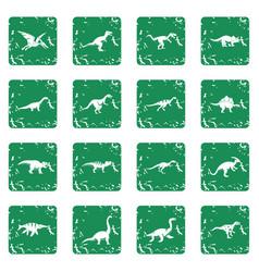 dinosaur icons set grunge vector image