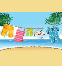 drying summer clothes vector image