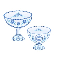 Faience cups decoration ceramic porcelain vector image