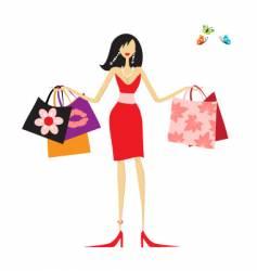 Fashion woman shopping vector