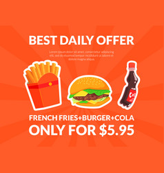 fast food best daily offer banner template vector image