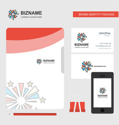 fireworks business logo file cover visiting card vector image