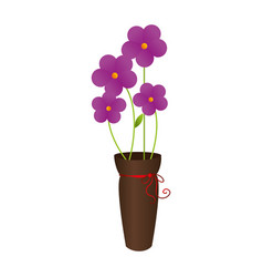 Flower pot decorative icon vector