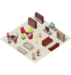 Furniture Set Isometric Design vector