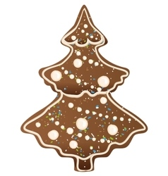 Gingerbread Christmas tree shape vector image