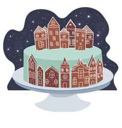 Gingerbread village cake night stars and snow vector