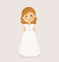 Girl communion with curly hair on ochre background vector