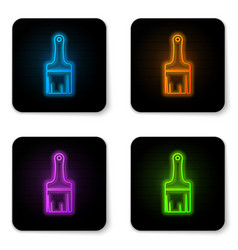 glowing neon paint brush icon isolated on white vector image
