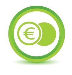 Green euro coin icon vector