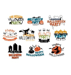 Halloween party and happy halloween designs vector