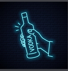 hand hold vodka bottle glass neon sign vector image