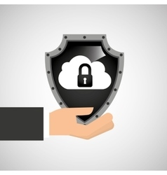 hand holding cloud security shield data vector image