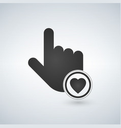 hand mouse cursor icon with heart in the circle vector image