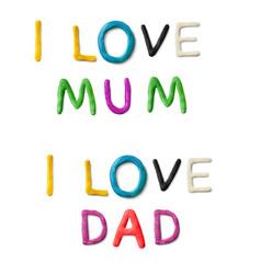 Handmade modeling clay words i love mum dad vector