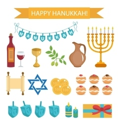Hanukkah set of cartoon icons Hanukkah Icons with vector