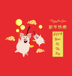 Happy chinese new year 2019 greeting card with vector