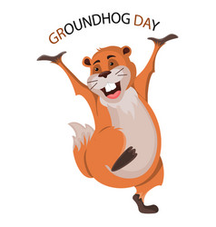 happy groundhog day design with cute groundhog vector image