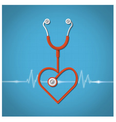 Heart Shape Stethoscope Valentines Day Background vector image
