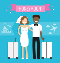 Honeymoon concept wedding couple vector
