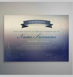 horizontal certificate template design vector image