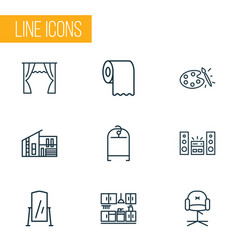 House icons line style set with sound system vector